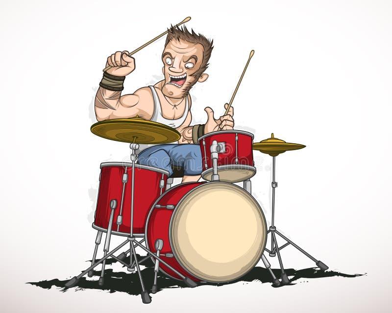 Rock musician drummer vector illustration