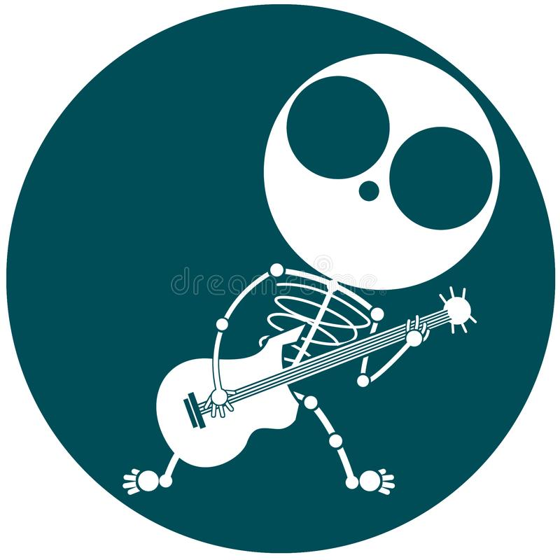 The skull rocker musicians are simple and funny lines vector illustration