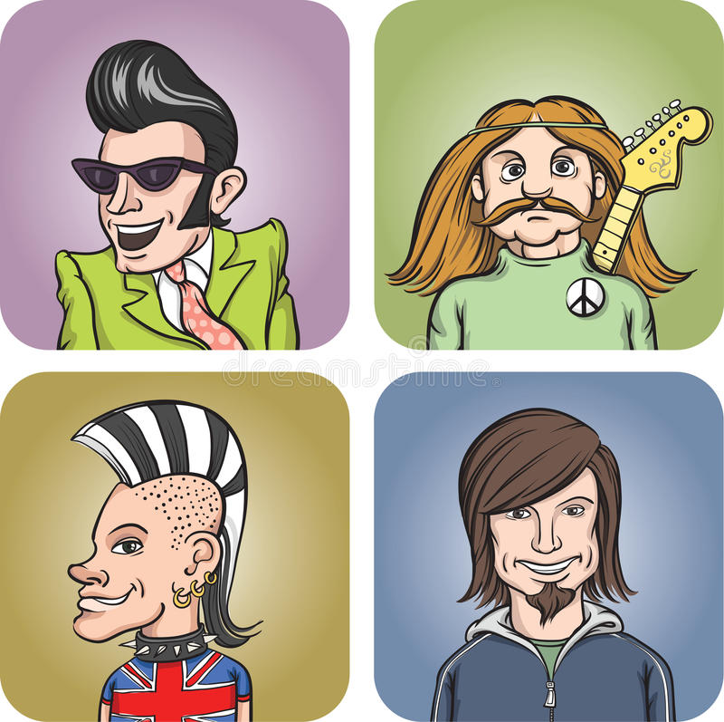 Rock musicians of various music genres vector illustration