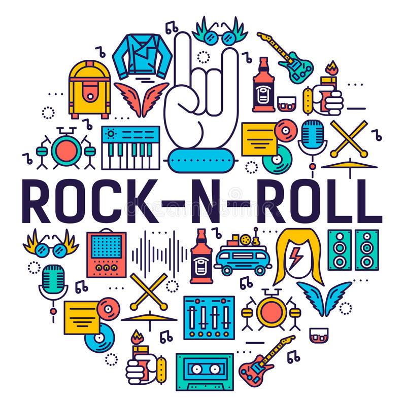 ROCK N ROLL circle outline icons collection set. Music equipment linear symbol pack. Modern template of thin line icons stock illustration