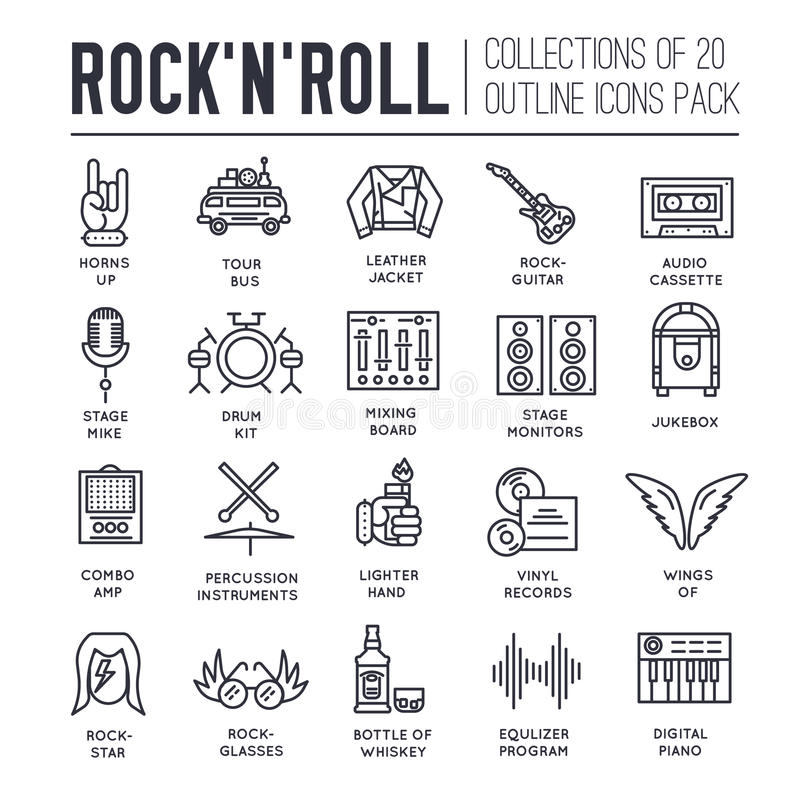 ROCK N ROLL Circle Outline Icons Collection Set. Music Equipment ...