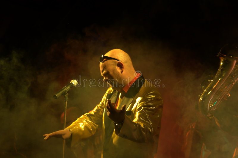 Rock-n-roll concert. Famous Marcel Woodman's Rock-n-roll band from Ostrava concerts in Novy Jicin, frontman singer Marcel Woodman on the photo royalty free stock photo