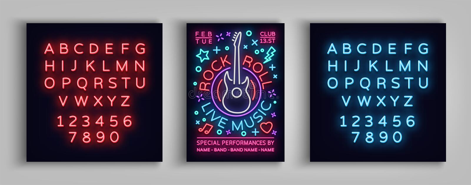 Rock n roll live music. Typography, Poster in neon style, Neon sign, Flyer Design template for rock festival, concert royalty free illustration