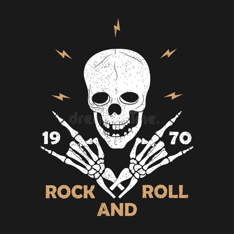 Rock-n-Roll music grunge typography for t-shirt. Clothes design with skeleton hands and skull. Graphics for clothes print, apparel. Rock-n-Roll music grunge stock illustration