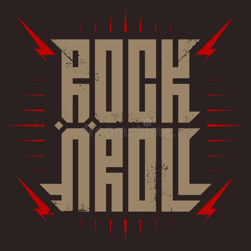Rock`n`roll - music poster with stylized inscription, red lightnings and star. Rock and roll - t-shirt design. T-shirt apparels stock illustration