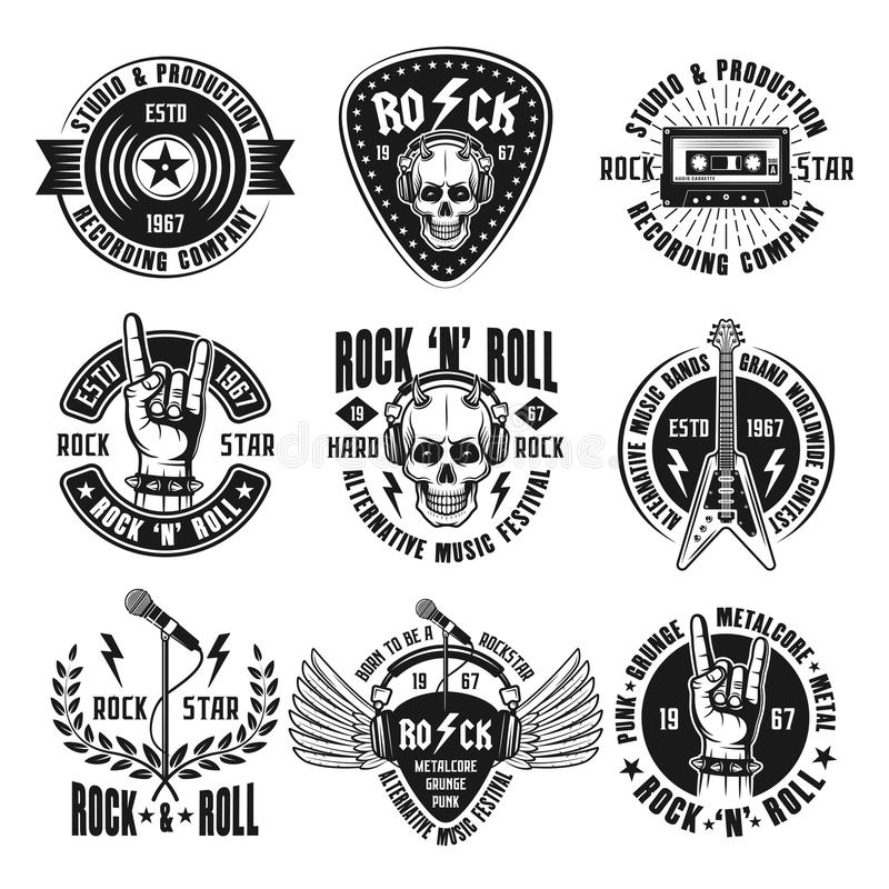 Rock n roll music vintage emblems, labels, badges stock illustration