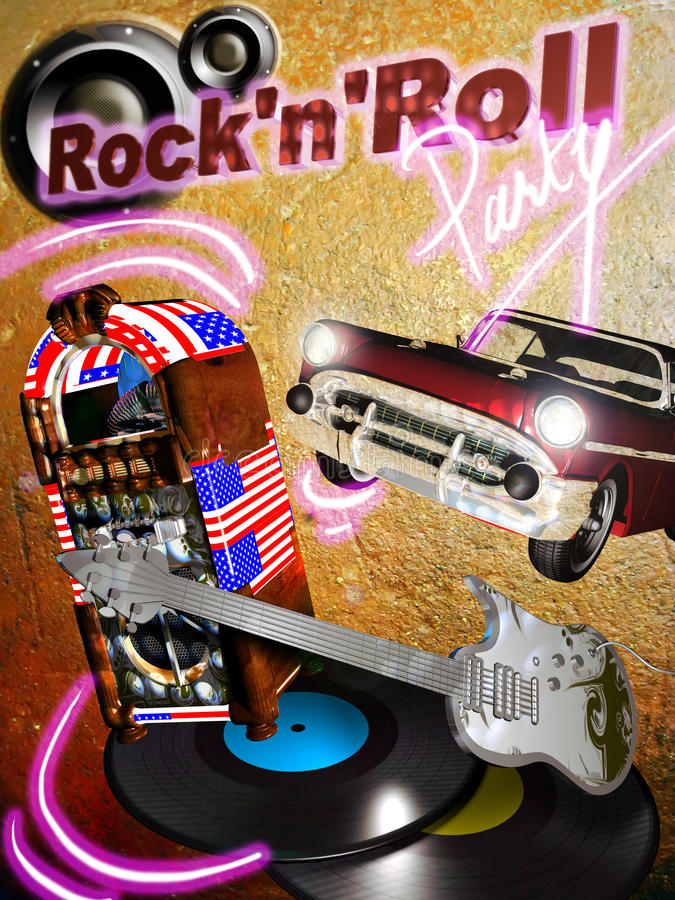 Rock'n' roll party royalty free illustration