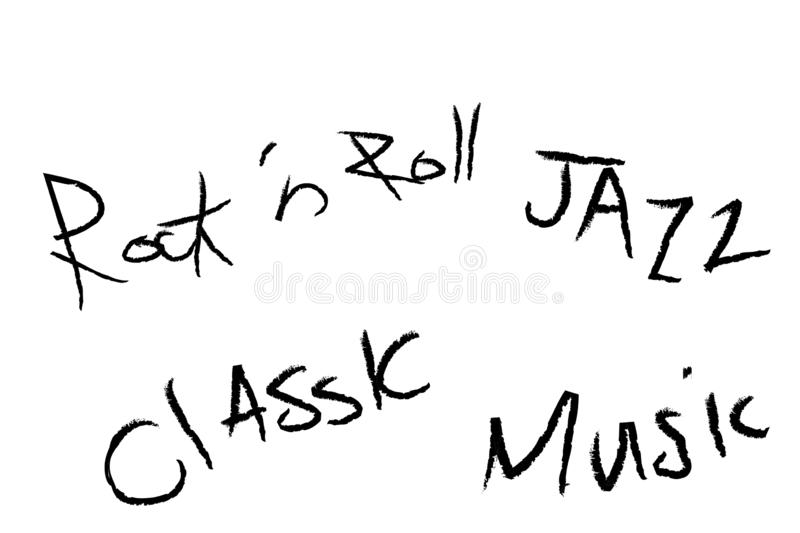 Rock- n - rool, jazz, classic, music text design on white background. Typography poster. royalty free stock image