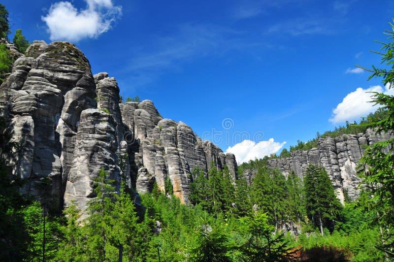 Rock nature scenery, Czech geology. Nature rocks of Broumovsko, geologic scenery Czech Republic stock photo