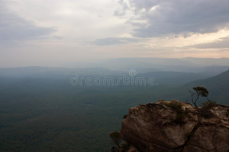 A rock near the Cahill's Lookout in the Blue Mountains in Australia stock images