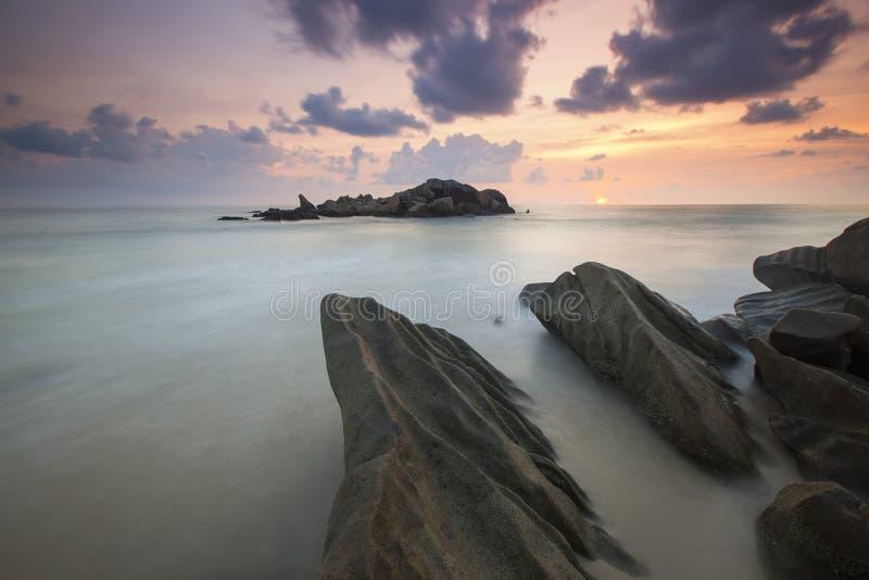 Rock Near A White Foggy Area Under An Orange Sky Free Public Domain Cc0 Image
