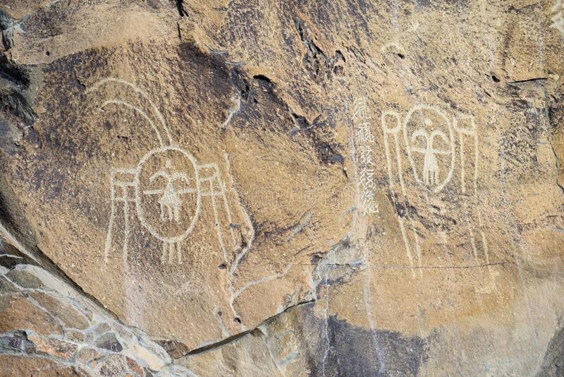 Rock Painting in Helan Mountain, China royalty free stock images