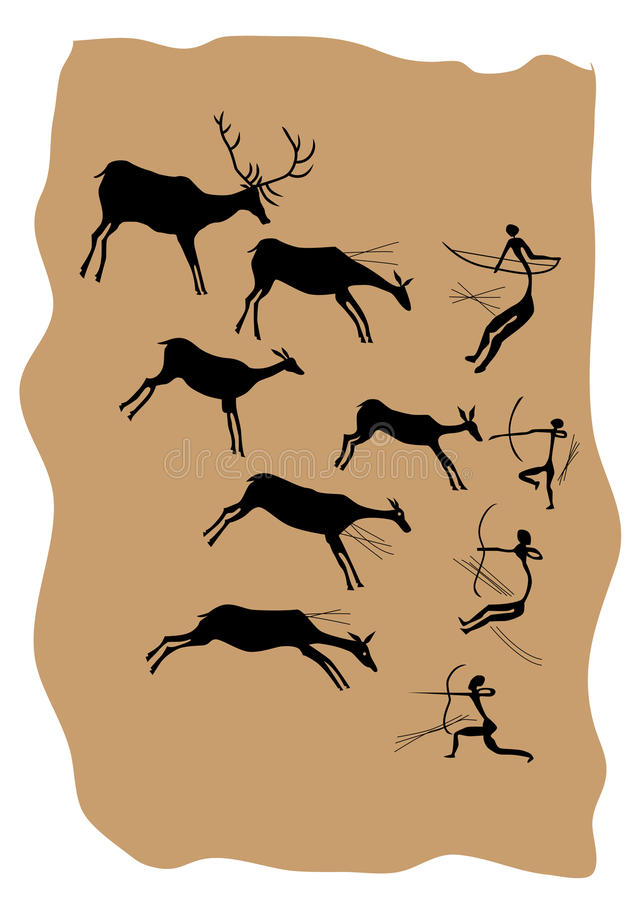 Download Rock paintings stock vector. Image of symbol, hunting - 15790562