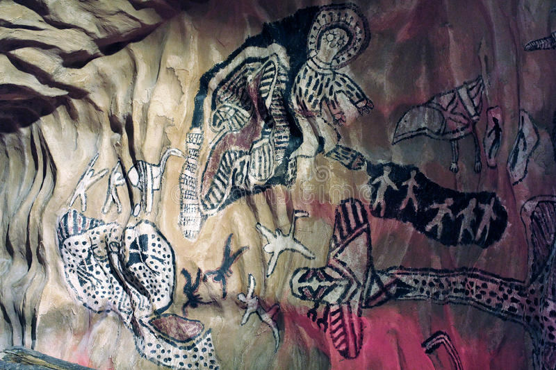 Rock Paintings. Example of Australian Rock Paintings in one of the caves stock image