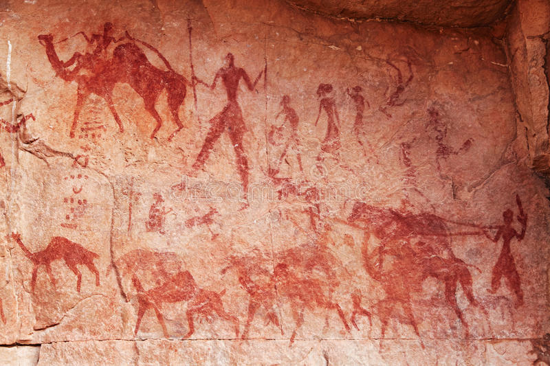 Rock paintings of Tassili N'Ajjer, Algeria. Famous prehistoric rock paintings of Tassili N'Ajjer, Algeria royalty free stock images