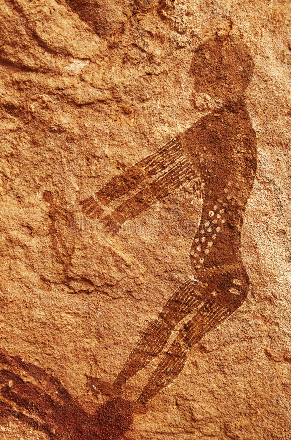Rock paintings of Tassili N'Ajjer, Algeria. Famous prehistoric rock paintings of Tassili N'Ajjer, Algeria royalty free stock photos