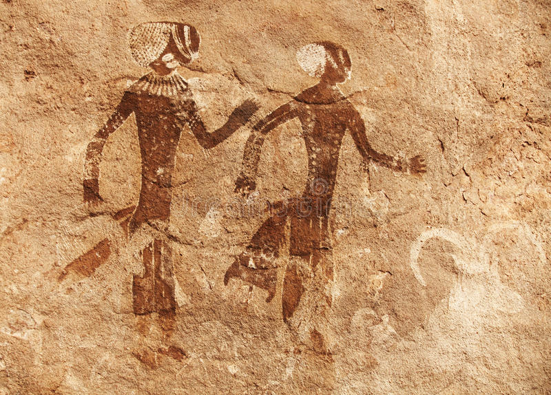 Rock paintings of Tassili N'Ajjer, Algeria. Famous prehistoric rock paintings of Tassili N'Ajjer, Algeria royalty free stock photography