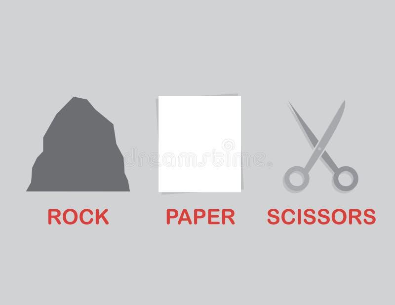 Rock Paper Scissors Text stock illustration