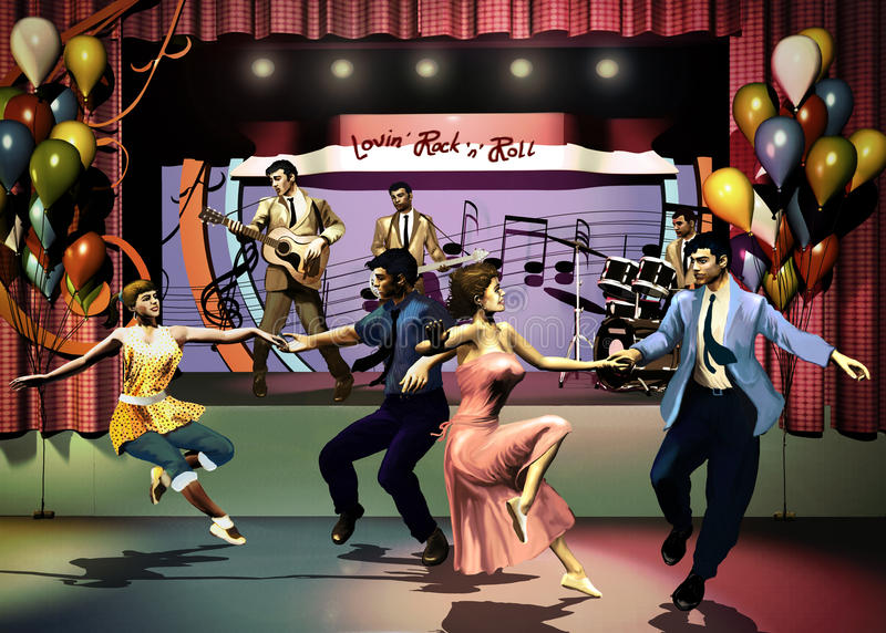 Rock party. Young couples from the fifties dancing at the foreground of a stage on which a musical group plays rock n' roll stock illustration