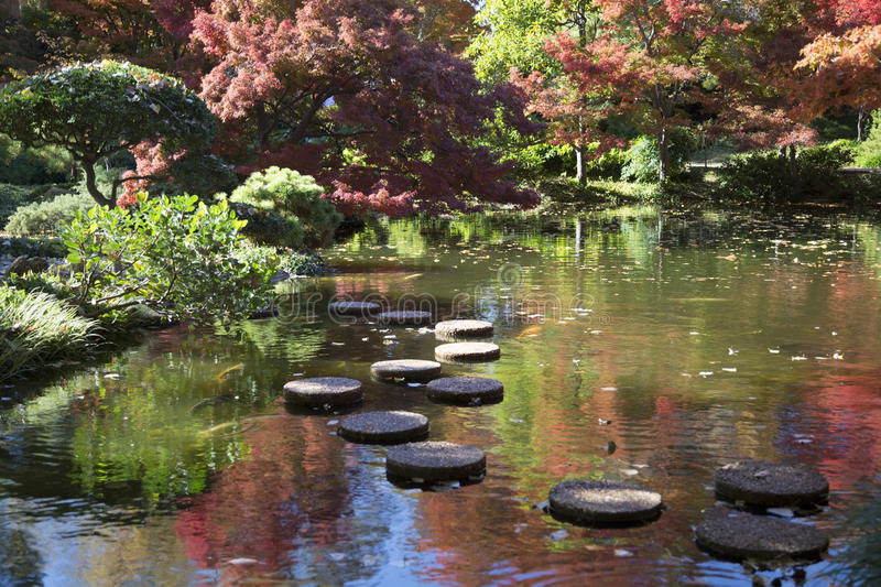 Rock path in pretty Japanese garden royalty free stock photo