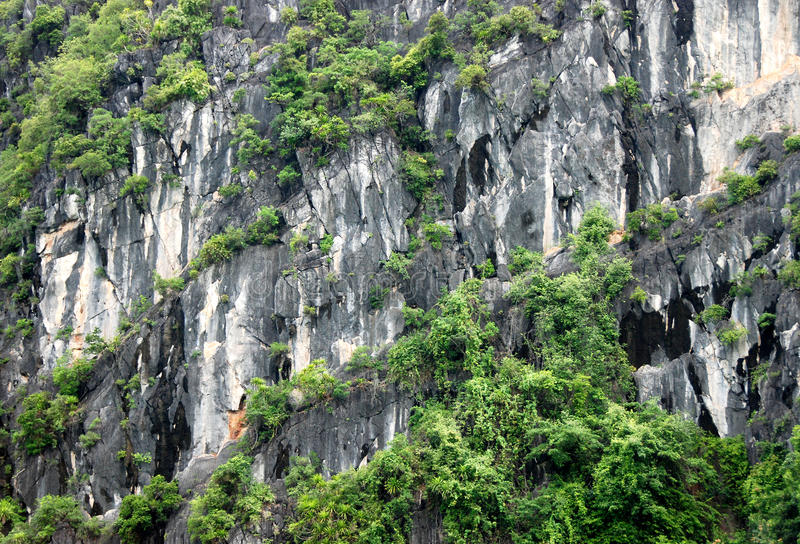 Rock patterns and textures. Patterns and textures of rocky surface from rocky islands at Halong Bay in Vietnam stock photo