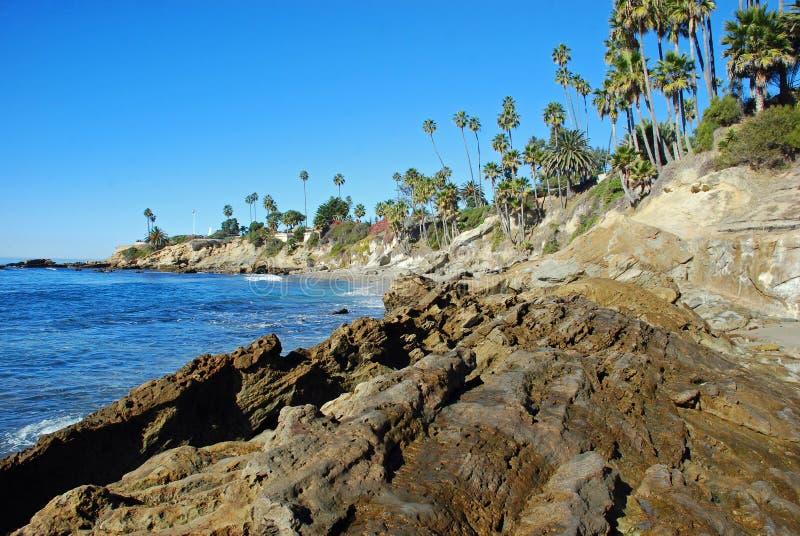 Rock Pile Beach below Heisler Park, Laguna Beach, California. The image shows the southern part of Rock Pile Beach which lies directly below Heisler Park, North royalty free stock image