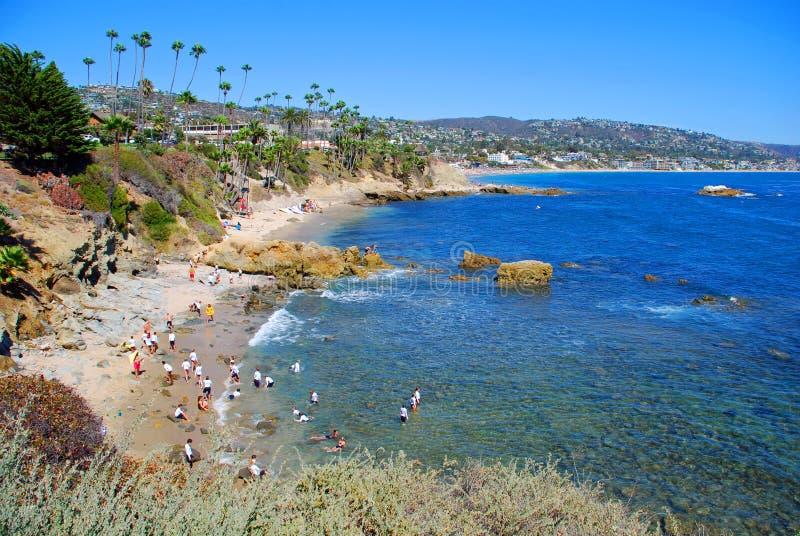 Rock Pile Beach below Heisler Park, Laguna Beach, CA. The image shows Rock Pile Beach which lies directly below the bluffs of Heisler Park, North Laguna Beach stock images