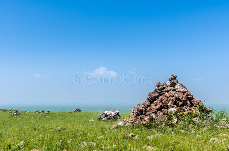 Rock pile. In the meadow stock image
