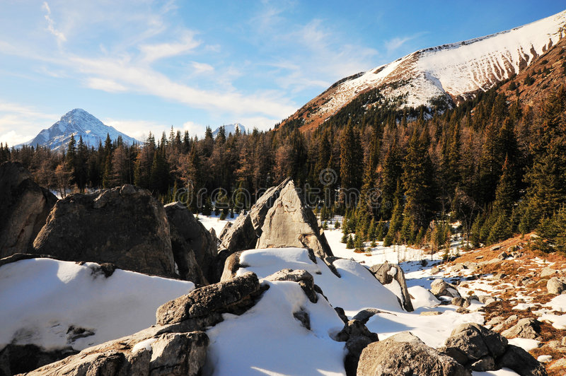 Rock Piles And Mountains Royalty Free Stock Photo