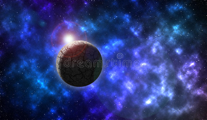 Rock planet in deep space. Rock planet with galaxies and stars in open space. Sunrise over the horizon unknown dead planet somewhere in the universe taken from stock illustration