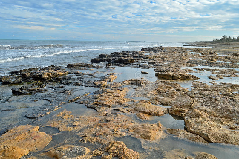 Rock Pools On The Sea Shore stock photography