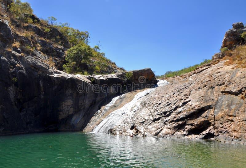 Rock Pools: Serpentine Falls, Western Australia. Rock pools and waterfall at Serpentine falls in Western Australia under a clear blue sky stock photos