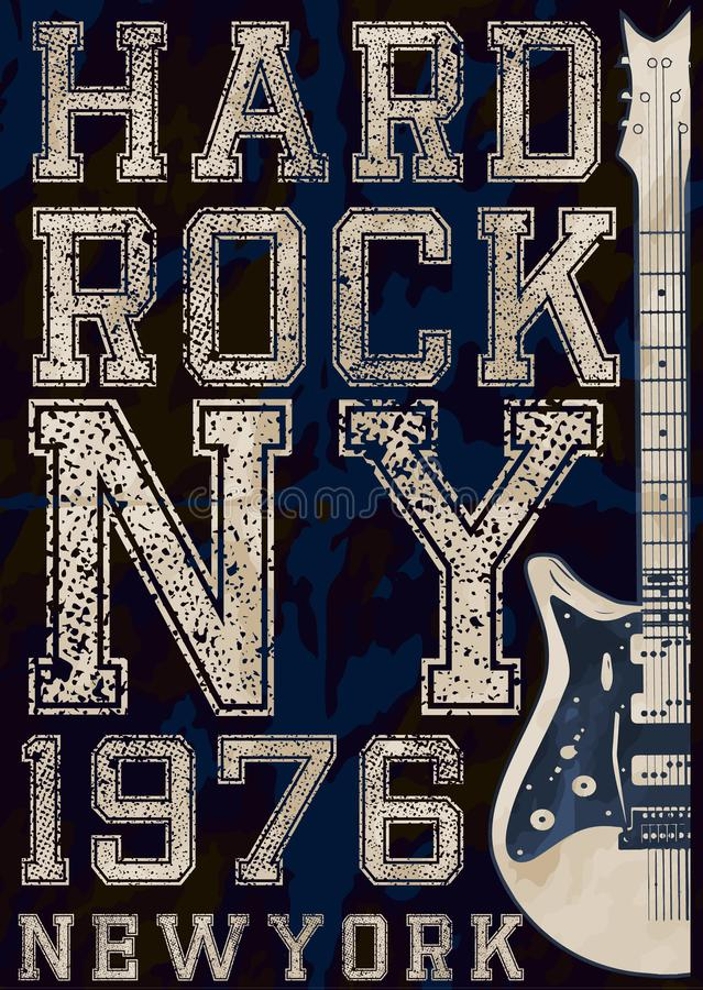 Rock poster, vintage rock and roll typographic for t-shirt; tee. Design; poster; vector illustration fashion style stock illustration