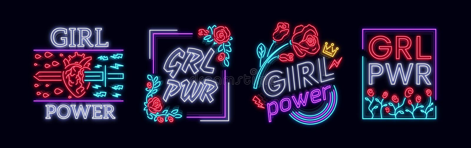 Rock print and slogan vector. Collection Girl T-shirt prints or other purposes. A symbol of feminism for printing in a. Neon style. Neon sign Retro style. Women vector illustration