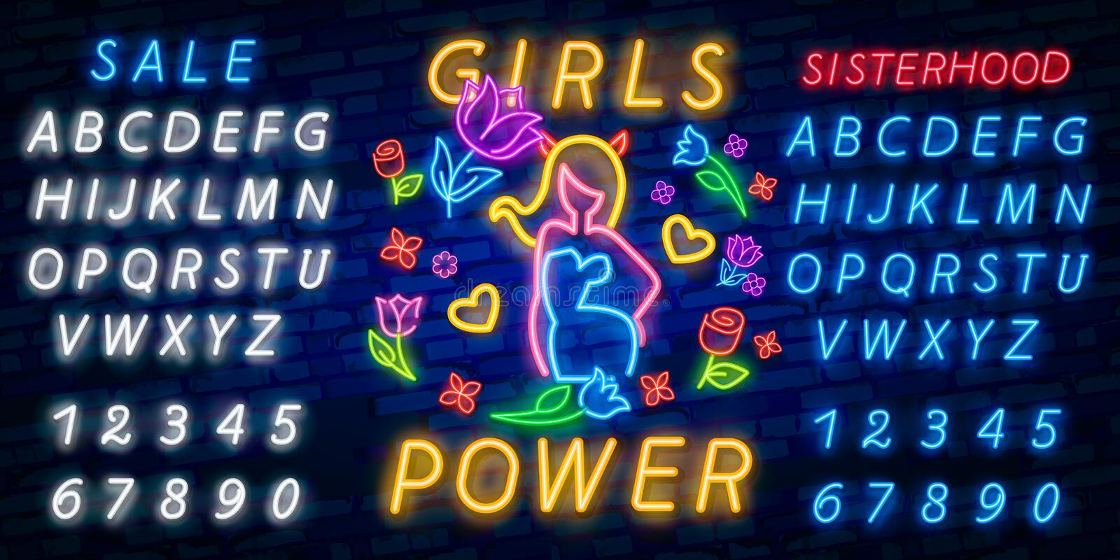 Rock print and slogan vector. Girl Power For T-shirt or other purposes. Symbol of feminism for printing in a neon style. Neon sign. Retro style stock image