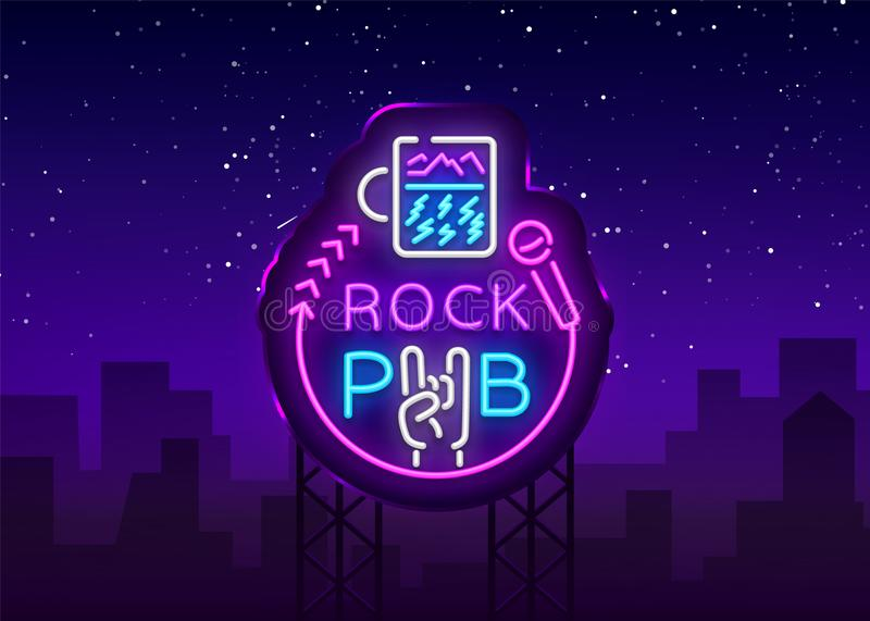 Rock Pub Logo Neon Vector. Rock Bar Neon Sign, Concept with a glass, Bright Night Advertising, Light Banner, Live Music royalty free illustration