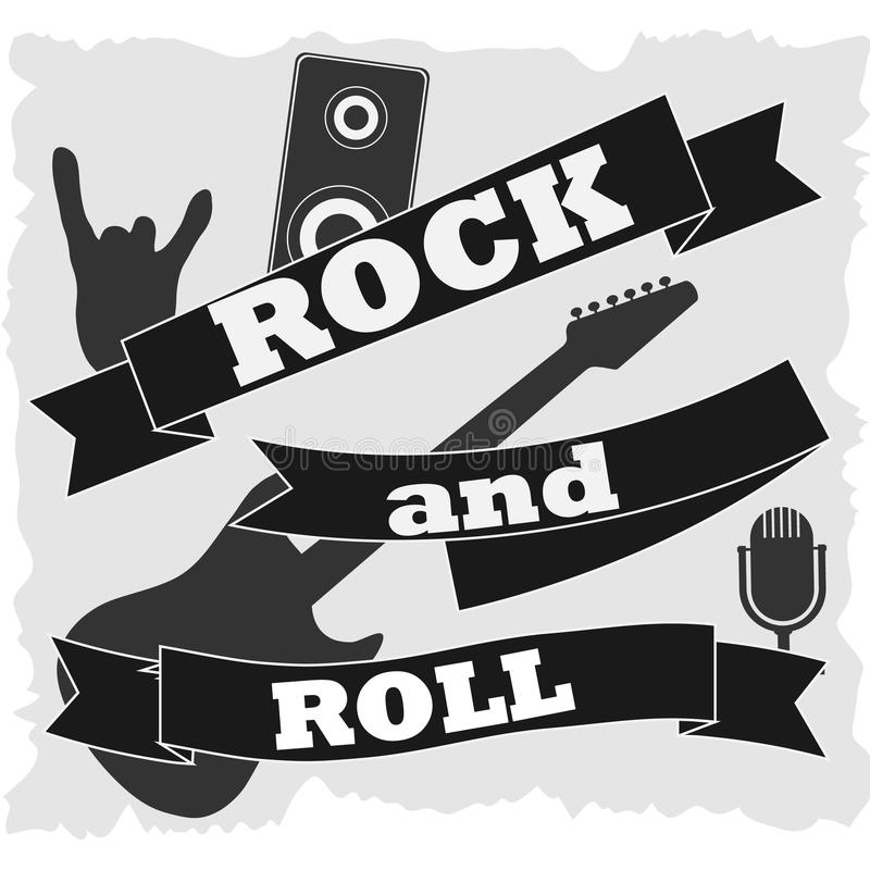 Rock-and-roll, bandera en el rock-and-roll blanco del fondo libre illustration