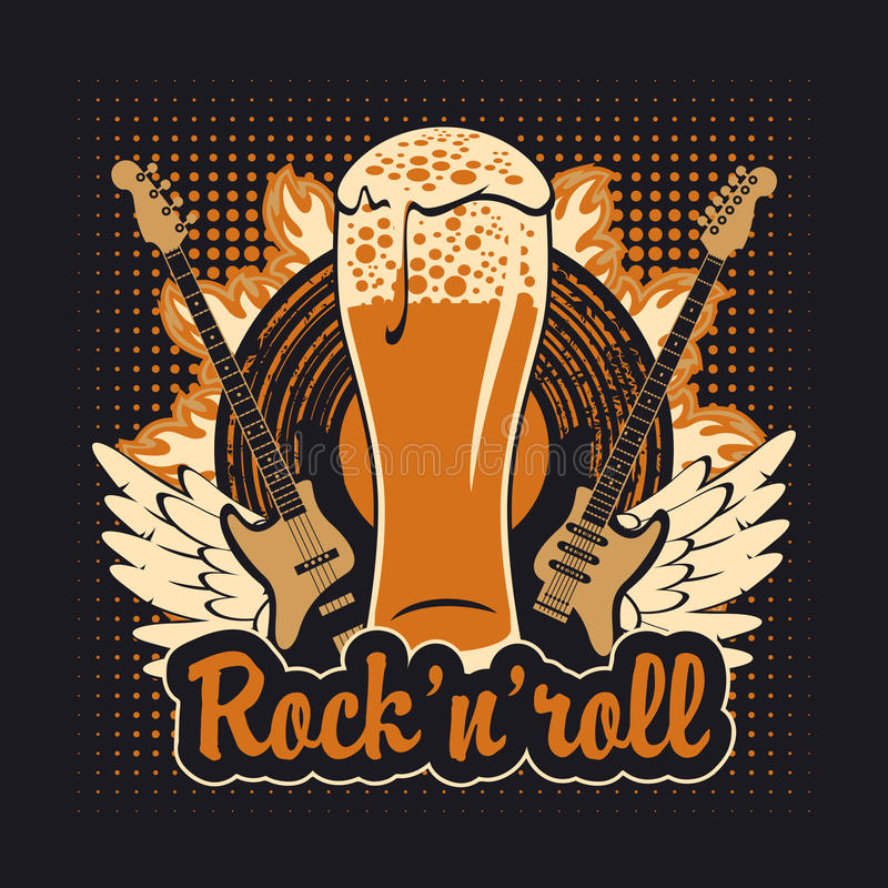 Rock and roll beer stock illustration