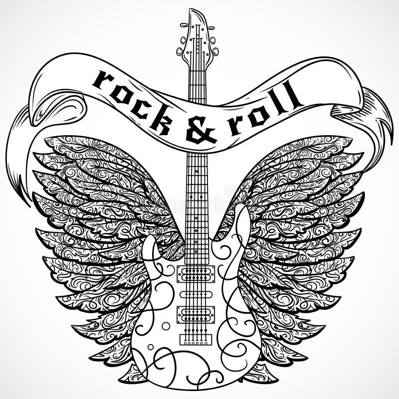 Rock and roll Cartaz do vintage com guitarra elétrica, as asas ornamentado e a bandeira da fita Ilustração retro do vetor ilustração do vetor