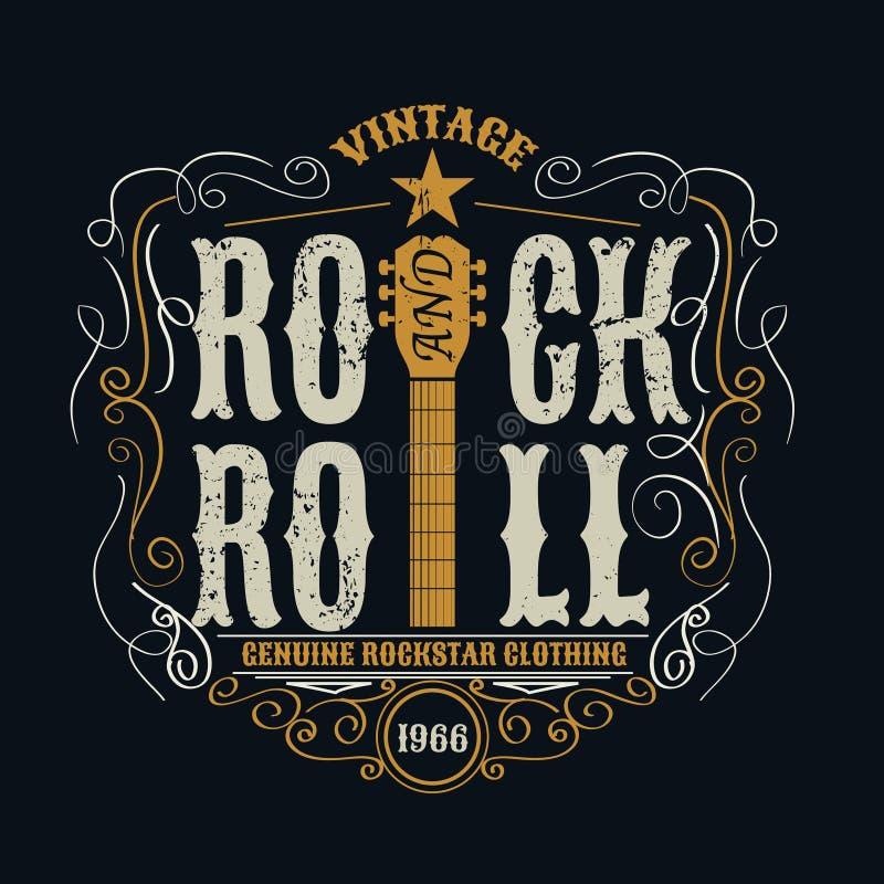 Rock-and-roll d'annata typograpic per la maglietta, designe del T, manifesto fotografia stock