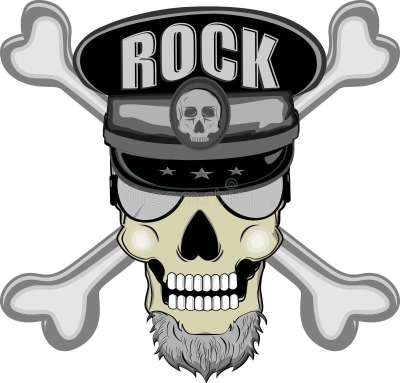 Rock-and-roll del cranio illustrazione di stock