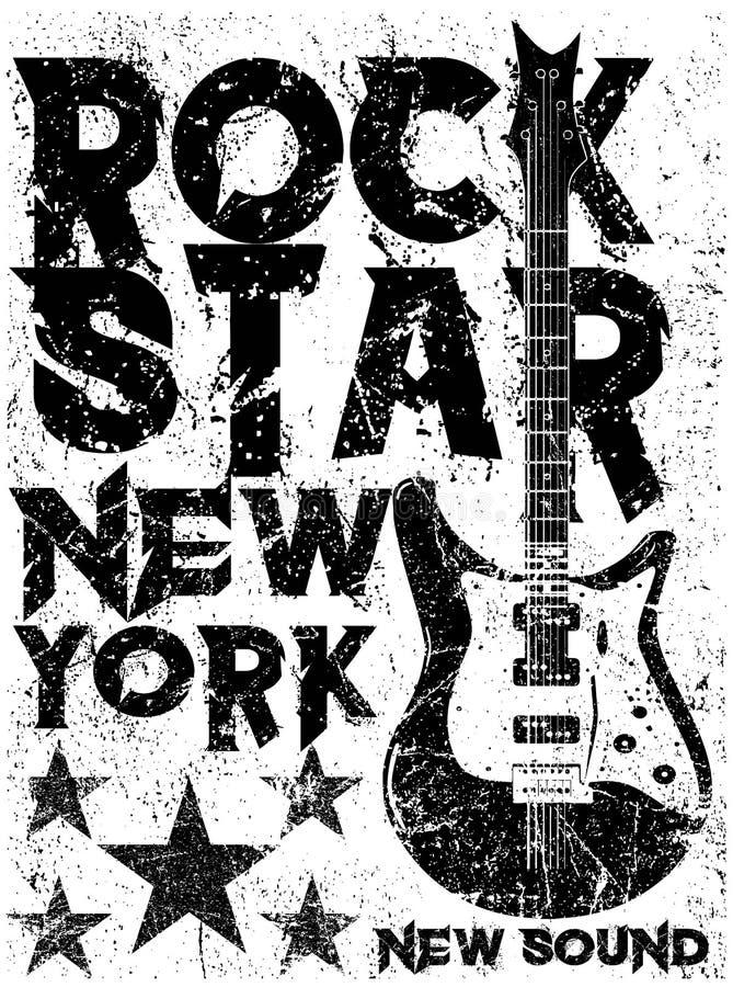 Rock and roll do vintage da estrela do rock tipográfico para o t-shirt; DES do T ilustração royalty free