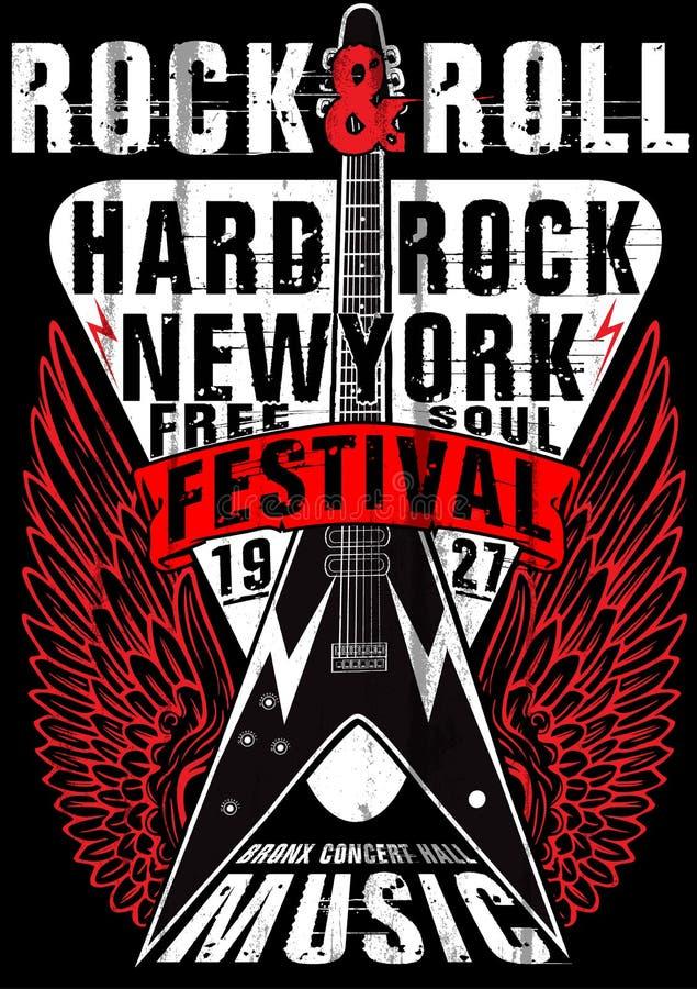 Rock and roll do vintage da estrela do rock tipográfico para o t-shirt; DES do T ilustração do vetor