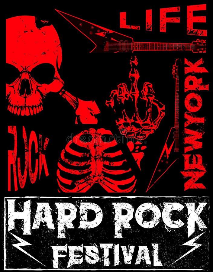 Rock and roll do vintage da estrela do rock tipográfico para o t-shirt; T ilustração stock