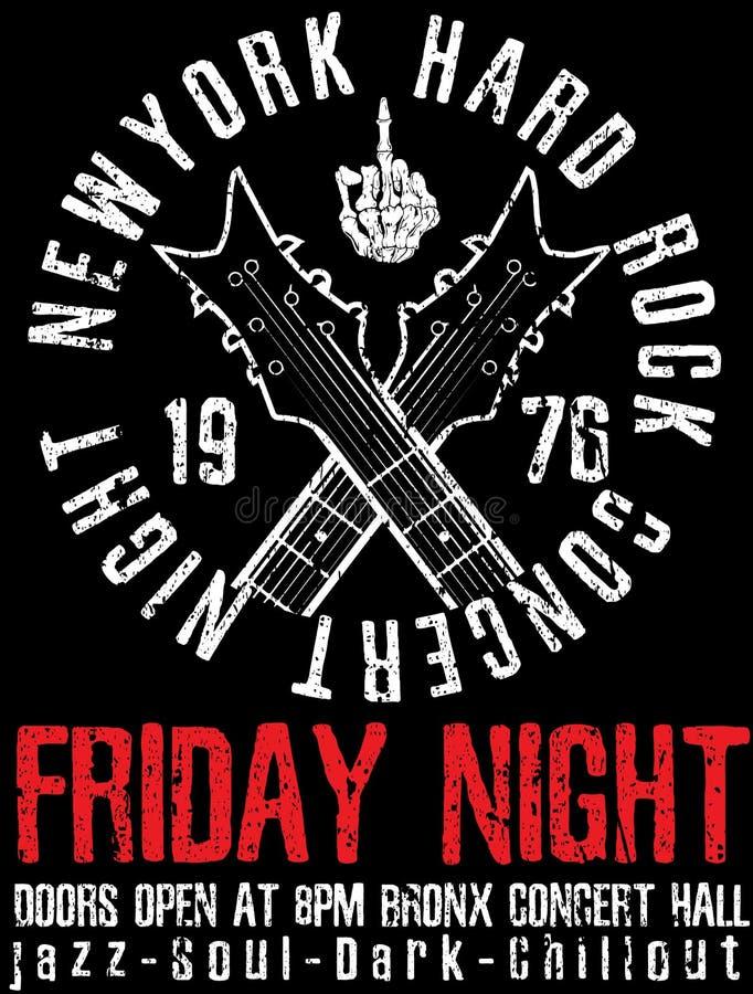 Rock and roll do vintage da estrela do rock tipográfico para o t-shirt; DES do T ilustração stock