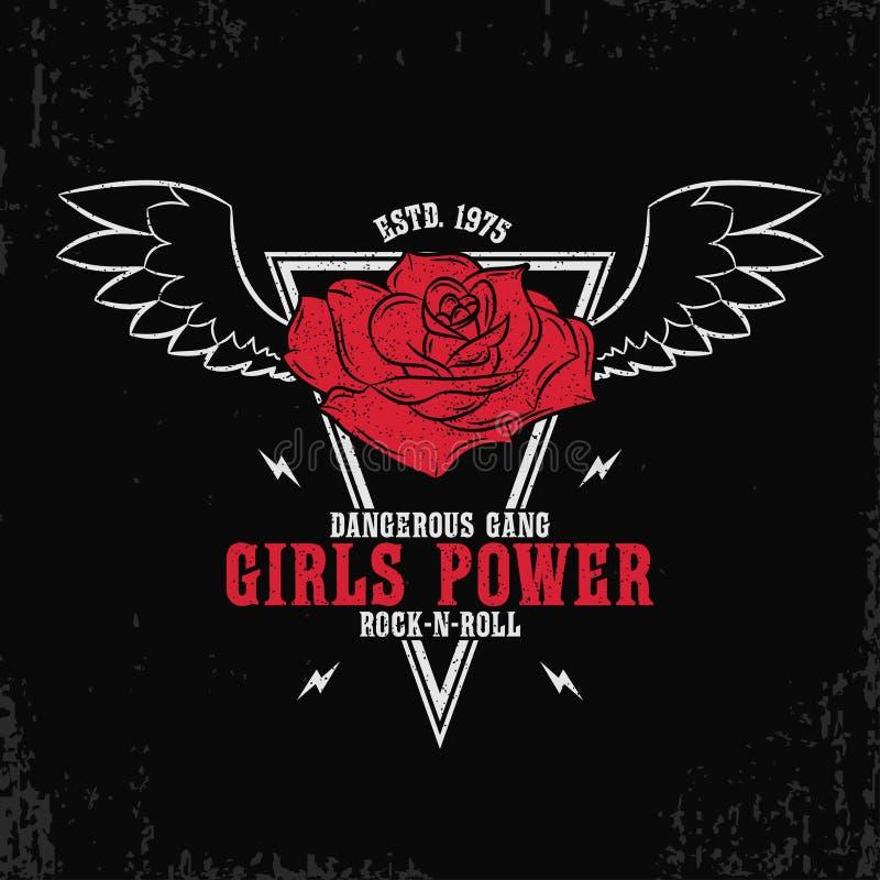 Rock and roll, dziewczyny władza - grunge typografia dla koszulki, kobiety odziewa Fasonuje druk dla żeńskiej odzieży z różą i sk ilustracja wektor