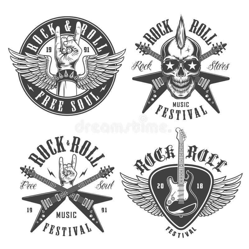 Rock and roll emblems royalty free illustration