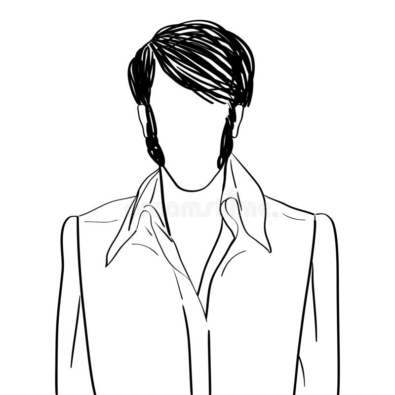 Rock and roll face avatar. Hand drawn artistic illustration of an anonymous avatar of a rock and roll man with fancy hairslyle in a stage shirt, web profile royalty free illustration