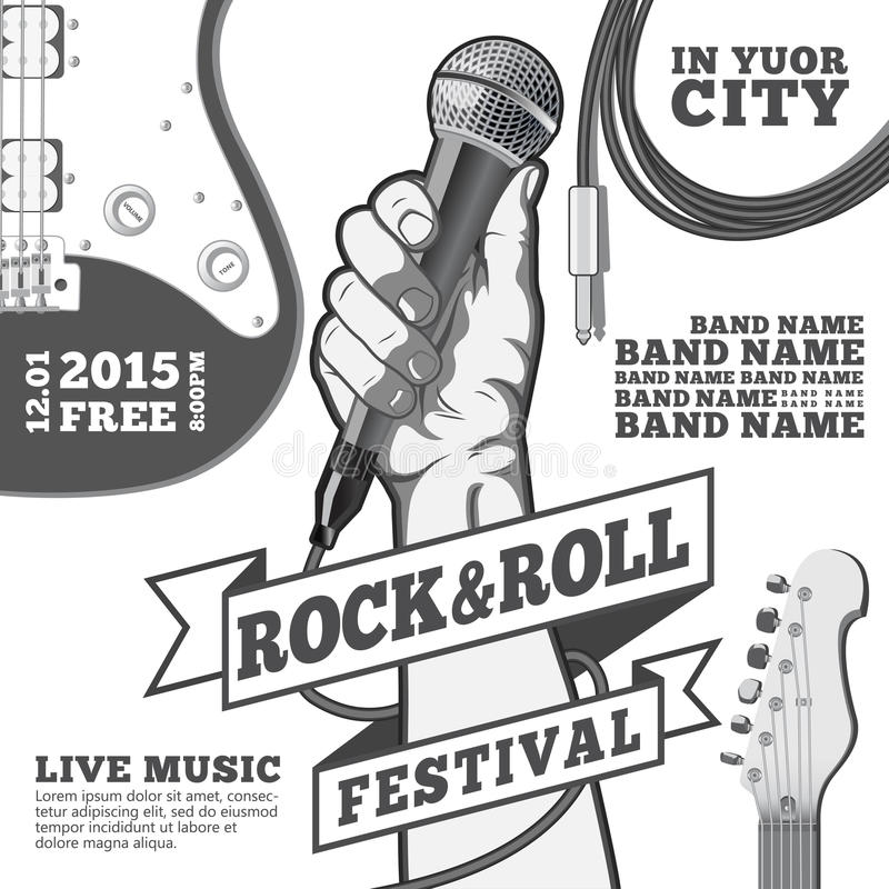 Rock and roll festival concept poster. Hand holding a microphone in a fist. Black and white illustration . mixed media stock illustration