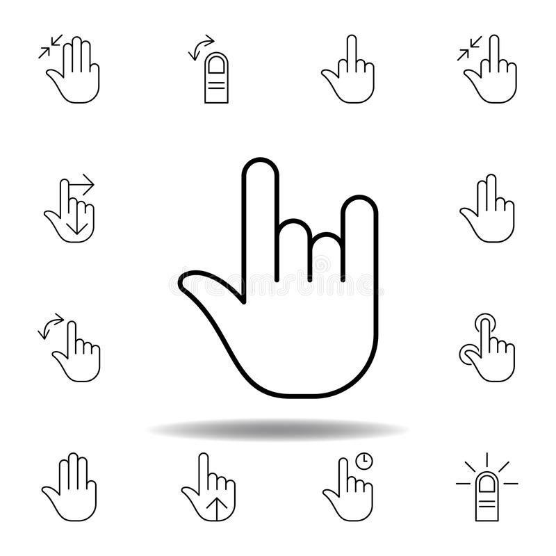 rock and roll gesture outline icon. Set of hand gesturies illustration. Signs and symbols can be used for web, logo, mobile app, vector illustration